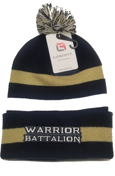 ***Clearance Sale***Beanie Winter Hat, Navy/Vegas Gold by Logofit